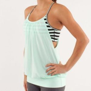 Lululemon No Limits mint green striped tank